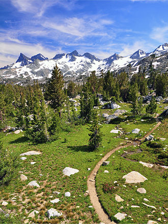 Pacific Crest Trail - The Pacific Crest Trail in the Ansel Adams Wilderness, with a view of the Ritter Range