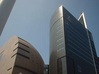 Riverwalk Kitakyūshū - The NHK building (brown) and Zenrin-Asahi Shinbun building (black)
