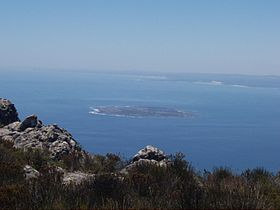 Robben Island vista dalla Table Mountain