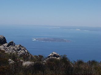 Robben Island - Robben Island as viewed from Table Mountain towards Saldanha Bay.