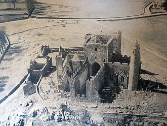 Rock of Cashel - Aerial view of the Rock of Cashel, circa 1970, prior to any modern work