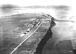 Rockwell Field - Rockwell Field, California in 1924, looking north.  Rockwell Field is in the foreground.  On the other side of the island is the Naval Air Station San Diego.