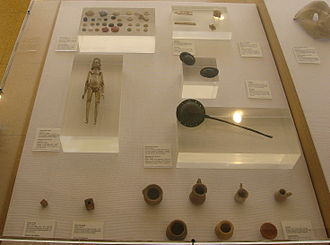 Toy museum - A display of Roman toys at the Museum of Archaeology in Tarragona, Spain.