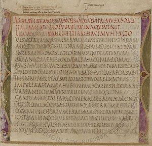 Western calligraphy - Page of the Virgilius Romanus (5th century)