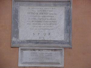 Pietro Raimondi - Commemorative plaque in Piazza dell'Oratorio, Rome
