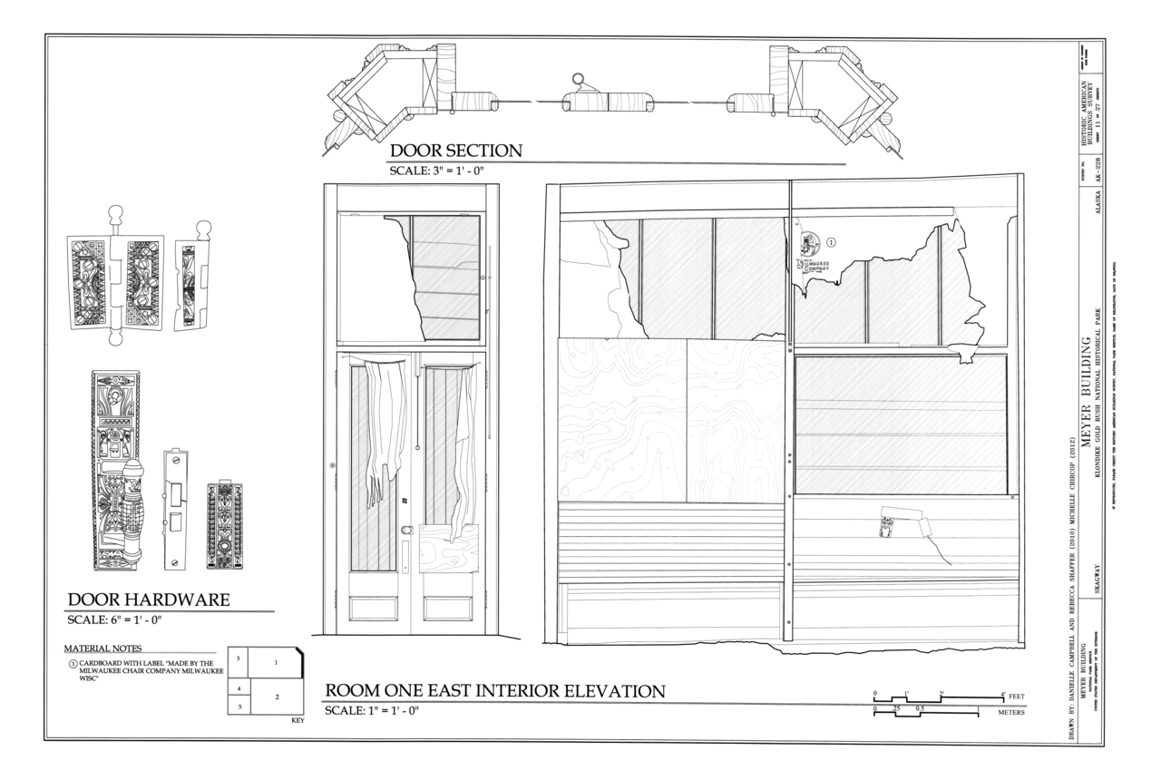 File room one east interior elevation meyer meat market for Dining room elevation
