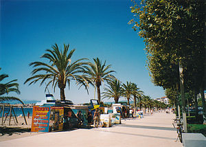 Roses, Girona - Palm-lined sea promenade