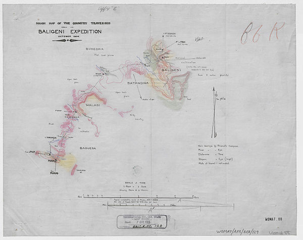 600px rough map of the country traversed during the baligeni expedition october 1904. %28womat afr bea 129%29