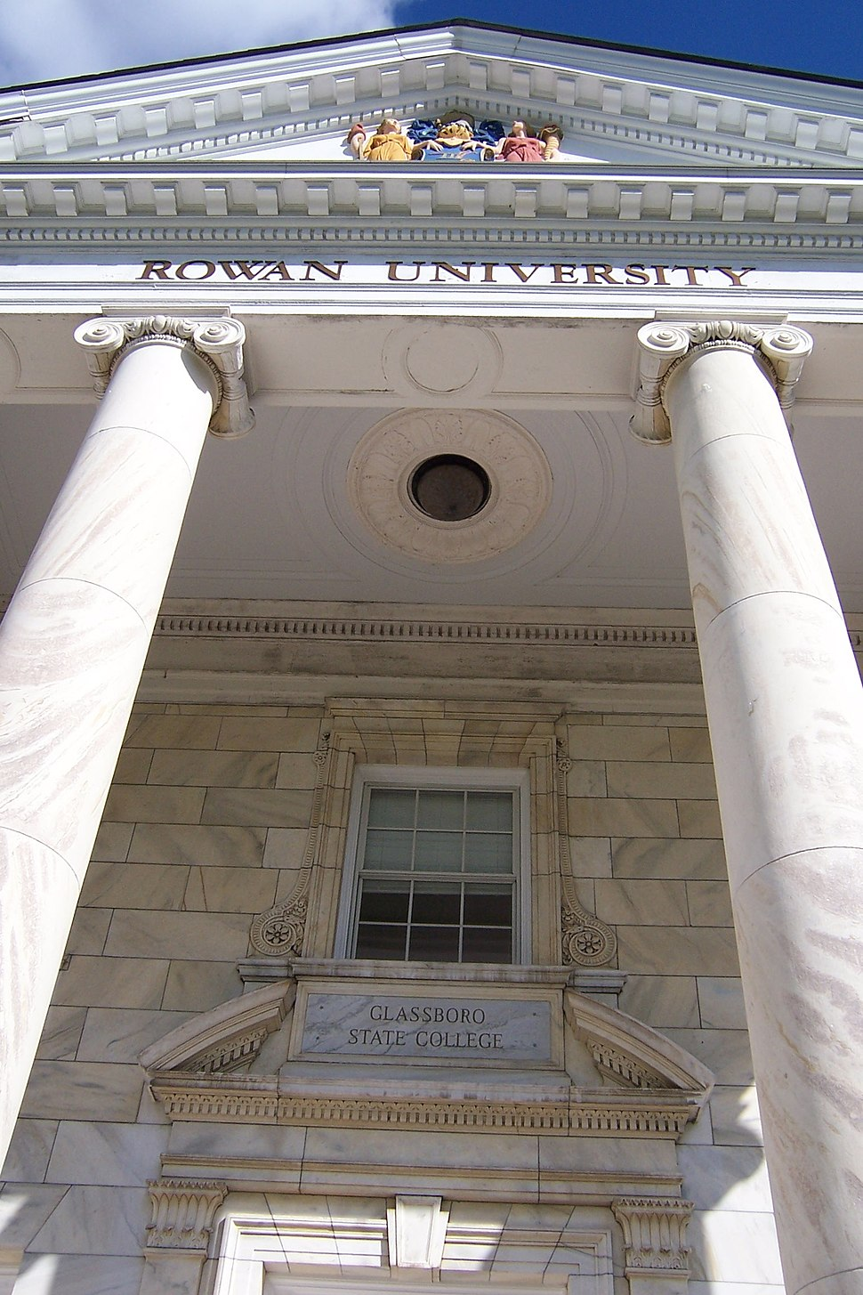 Rowan University, Bunce Hall facade with two names (Glassboro State College and Rowan University)