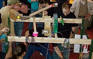Rube Goldberg machine - Rube Goldberg machine designers participating in a competition in New Mexico.