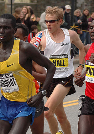 Ryan Hall (runner) - On the way to placing 3rd in the 2009 Boston Marathon. At halfway point in Wellesley Square.