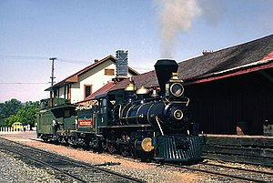 Jamestown, California - Sierra Railway No. 3 at the old Jamestown Depot, for the filming of the pilot episode of  The Big Valley, 1964.