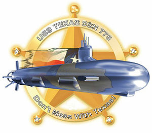 "Don't Mess with Texas - The crest for the submarine USS Texas. The phrase ""Don't Mess with Texas!"" can be seen on the lower half of the crest."