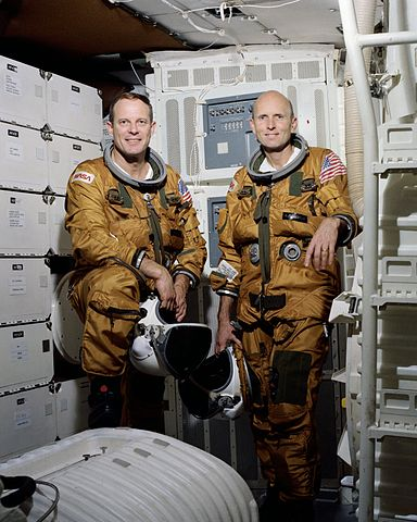 Official portrait of STS-3 crewmembers Jack R. Lousma (commander), left, and C. Gordon Fullerton (pilot) Source: Wikipedia (NASA site unavailable March 2019) 384px-STS-3_Crew.jpg