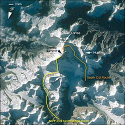 View from space showing South Col route and North Col/Ridge route