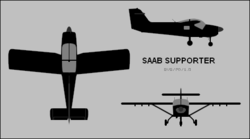 Saab Supporter three-view silhouette.png