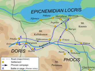 Third Sacred War - First Phocian campaign in Epicnemidian Locris and Doris, 354 BC