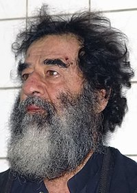 A captured Saddam Hussein is investigated by US military doctors.