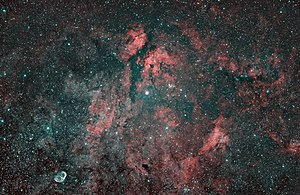 Sadr Region - This picture shows IC 1318 / gamma Cyg nebula , NGC 6914 , IC 1311 , NGC 6888 / Crescent nebula in the lower left as well as some other nebulous regions