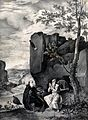 Saint Antony Abbot with Saint Paul the Hermit. Lithograph by Wellcome V0033573.jpg