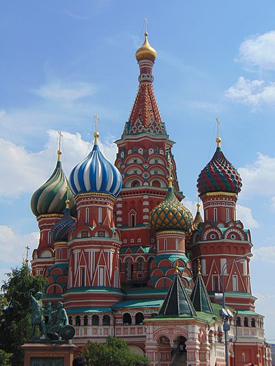 Saint Basil's Cathedral was built in 1561. Saint Basil Cathedral, Moscow.jpg
