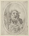 Saint James Major, looking upwards and holding a staff, from Christ, the Virgin, and Thirteen Apostles MET DP837909.jpg