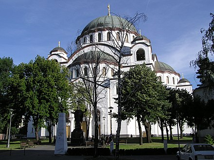Saint Sava Cathedral with the monument of Saint Sava Saint Sava Temple.jpg