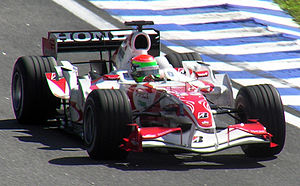 Sakon Yamamoto - Yamamoto driving the Super Aguri SA06 at the 2006 Brazilian Grand Prix where he set the 7th fastest lap of the race.