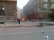Sarajevo, burning cars near Presidency building, riots day (February 7 2014)