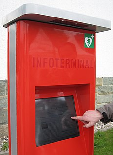 Interactive kiosk Computer terminal that provides access to information, communication, commerce, etc.