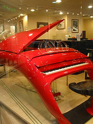 Innovations in the piano - The Pegasus piano, made by the Schimmel firm.