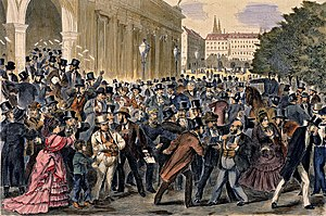 Financial crisis - Black Friday, 9 May 1873, Vienna Stock Exchange. The Panic of 1873 and Long Depression followed.
