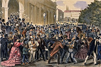 Black Friday, 9 May 1873, Vienna Stock Exchange. The Panic of 1873 and Long Depression followed. Schwarzer Freitag Wien 1873.jpg
