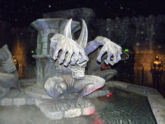 Scooby-Doo Spooky Coaster - The monster fountain located in the main queue area of the ride.