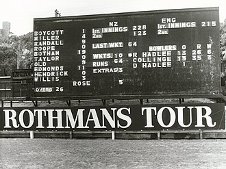 Scoreboard - Basin ReserveFebruary 1978. NZ's first win over England Scoreboard - NZ v England, Wellington, February 1978.jpg