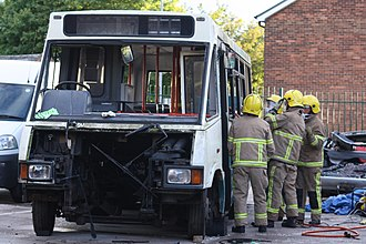 Northumberland Fire and Rescue Service - An Optare Metrorider being used for fire training by the Northumberland Fire and Rescue Service in 2010.