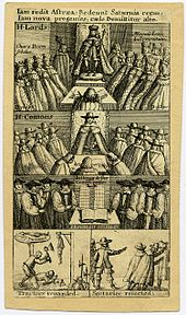 Five images showing scenes from 1. The House of Lords; 2. The House of Commons; 3. The bishops looking at the book of common prayer; 4. The traitors being executed; 5. Their associates being dismissed