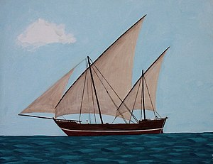 Lateen - A large dhow with two lateen sail rigs and a headsail.