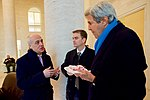 Secretary Kerry Chats With Georgia First Deputy Foreign Minister Zalkaliani and Embassy Tbilisi Deputy Chief of Mission Berliner During a Re-fueling Stop in Tbisili (32229159586).jpg