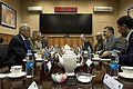 Secretary of Defense, Chuck Hagel, meets with Afghan Defense Minister, Bismillah Khan Mohammadi, in Kabul, Afghanistan.jpg
