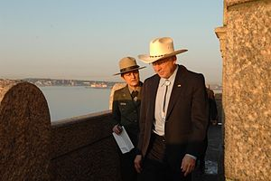 Ken Salazar - Maria Burks, commissioner of the National Parks of New York Harbor, and Ken Salazar at the Statue of Liberty in May 2009.
