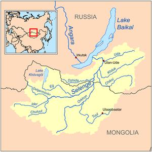 Orkhon River - Image: Selengerivermap