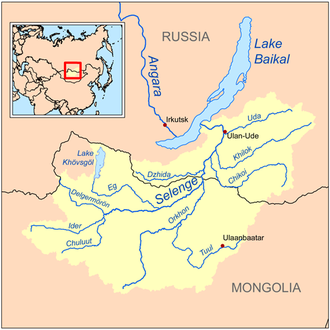 Uda River (Republic of Buryatia) - The Uda River as an east tributary of the Selenge River