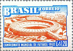 Maracanã Stadium - Postage stamp featuring the Maracanã, commemorating the 1950 FIFA World Cup.