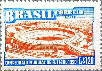1950 FIFA World Cup - Image: Selo da Copa de 1950 Cr 1,20