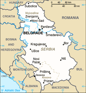 Political status of Kosovo - US Central Intelligence Agency map of Serbia as of June 2006, including the autonomous provinces of Vojvodina (north) and Kosovo (south)
