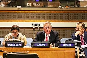 Shamshad Akhtar - Akhter, on far left, chairing the 2030 Agenda for Sustainable Development.
