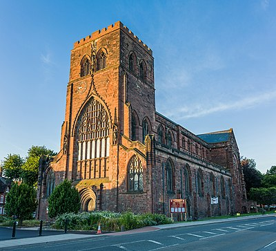 The remains of the church of Shrewsbury Abbey Shrewsbury Abbey Exterior, Shropshire, UK - Diliff.jpg