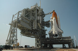 Space Shuttle Discovery in full launch configu...