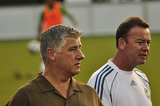 Sigi Schmid - Schmid and a member of his staff before a 2010 U.S. Open Cup match